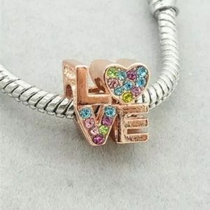 """NEW•Rose gold """"LOVE"""" multi color DIY charm/bead"""